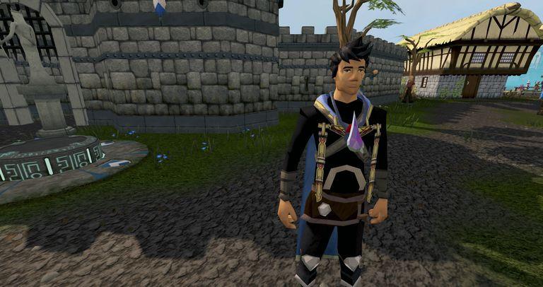 Lumbridge'de RuneScape'de bir oyuncu.