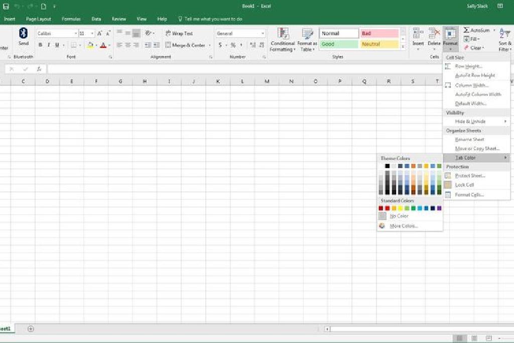 Excel De Calisma Sayfasi Sekmesi Renklerini Degistirme