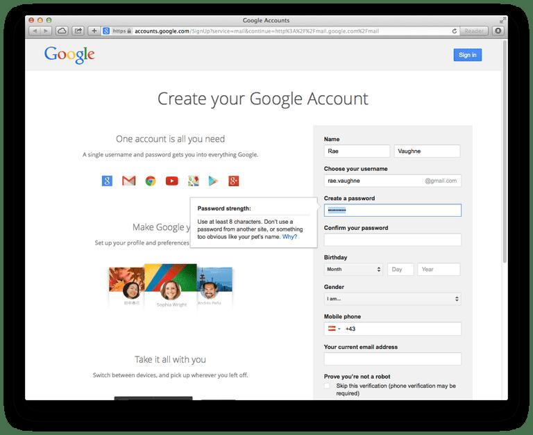 Şifrənizi yarat və Şifrənizi təsdiqləyin altında Gmail hesabınız üçün istənilən parol daxil edin.